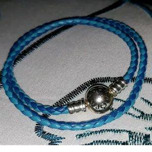 """Pandora 6.7"""" Blue Woven Double-Leather Bracelet"""